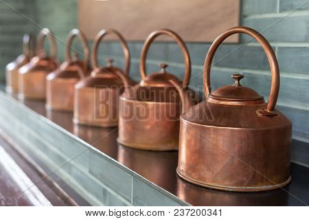 Copper Teapots In A Row In Chengdu, China