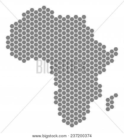 Gray Hexagonal Africa Map. Vector Geographical Map In Gray Color On A White Background. Vector Conce