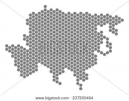 Grey Hexagonal Asia Map. Vector Geographic Map In Grey Color On A White Background. Vector Collage O
