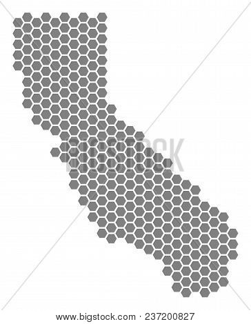 Gray Hexagonal California Map. Vector Geographic Map In Gray Color On A White Background. Vector Col