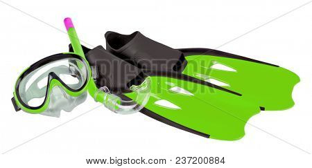 Scuba snorkeling green diving set. Isolated with path on white background.
