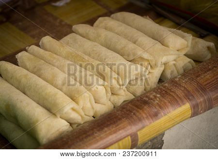 Raw Lumpia In Row On Seller Traditional Food From Indonesia Semarang Central Java