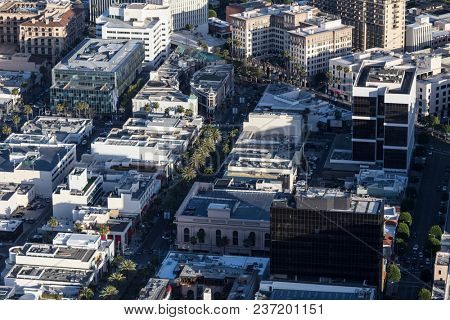 Beverly Hills, California, USA - April 18, 2018:  Afternoon aerial view of the famous Rodeo Drive shopping district near Wilshire Blvd.