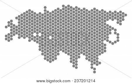 Gray Hexagon Europe And Asia Map. Vector Geographical Map In Gray Color On A White Background. Vecto