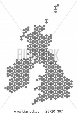 Grey Hexagon Great Britain And Ireland Map. Vector Geographic Map In Gray Color On A White Backgroun