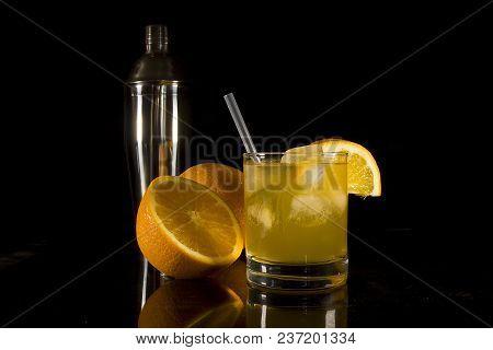 Cocktails In Glasses On A Black Background