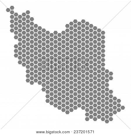 Grey Hexagonal Iran Map. Vector Geographic Map In Grey Color On A White Background. Vector Collage O