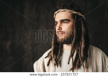 Portrait of man in the image of Jesus Christ
