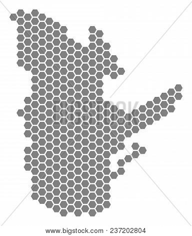 Gray Hexagonal Quebec Province Map. Vector Geographical Map In Gray Color On A White Background. Vec