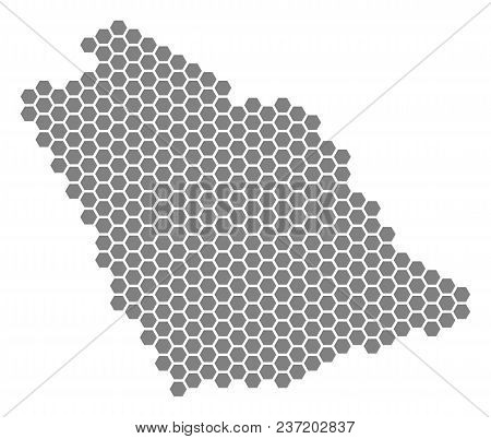 Gray Hexagon Saudi Arabia Map. Vector Geographic Map In Gray Color On A White Background. Vector Con