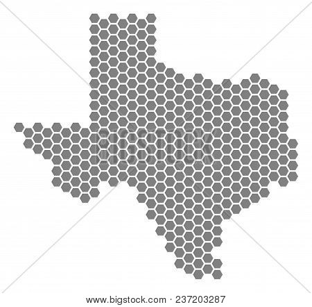 Grey Hexagonal Texas Map. Vector Geographical Map In Gray Color On A White Background. Vector Collag