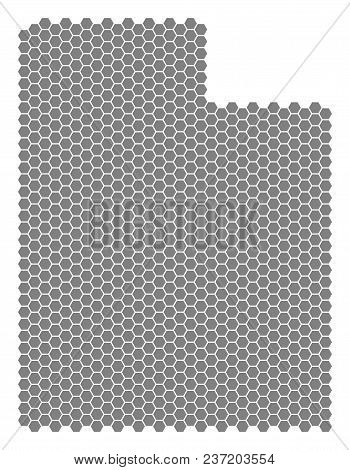 Gray Hexagonal Utah State Map. Vector Geographic Map In Grey Color On A White Background. Vector Mos