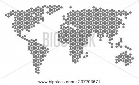 Grey hexagonal world map vector vector photo bigstock grey hexagonal world map vector geographic map in gray color on a white background gumiabroncs Gallery