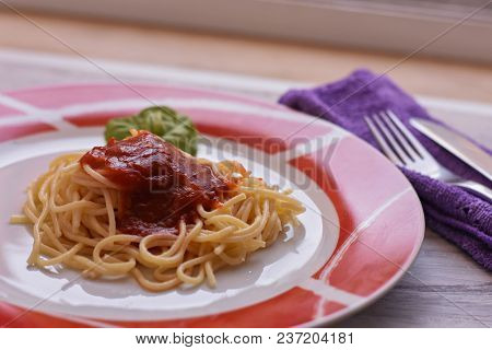 Delicious Homemade Spaghetti And Tomato Sauce/ Salsa/ Served At Plate