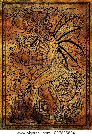 Dragon Symbol On Antique Texture Background. Monster With Demon Wings, Waves, Fire Balls And Treasur