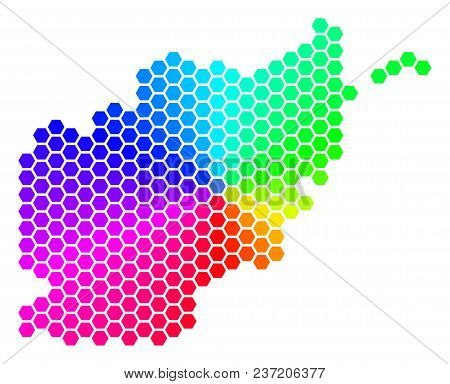 Spectrum Hexagon Afghanistan Map. Vector Geographic Map In Rainbow Colors On A White Background. Spe