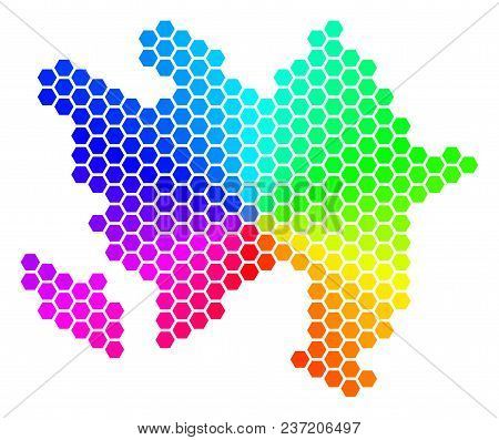 Hexagon Spectrum Azerbaijan Map. Vector Geographic Map In Rainbow Colors On A White Background. Spec