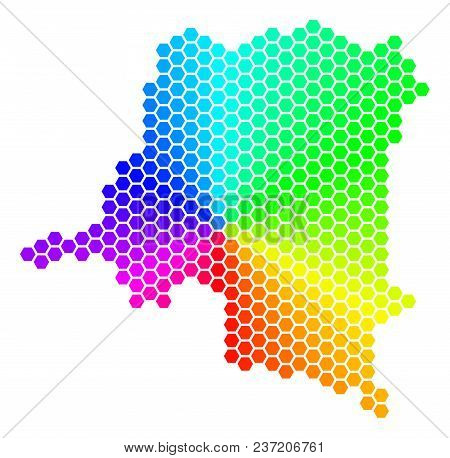 Hexagon Spectrum Democratic Republic Of The Congo Map. Vector Geographic Map In Bright Colors On A W
