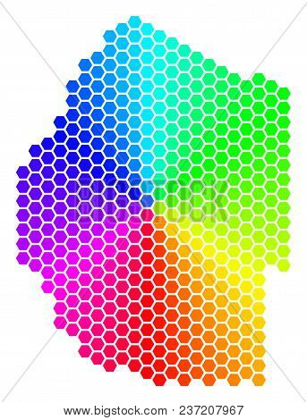 Hexagon Spectrum Swaziland Map. Vector Geographic Map In Bright Colors On A White Background. Spectr