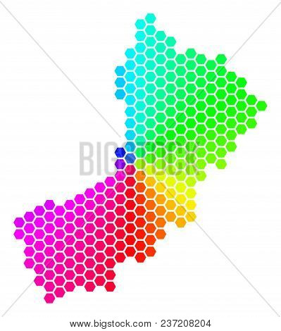 Spectrum Hexagon Yemen Map. Vector Geographic Map In Rainbow Colors On A White Background. Spectrum