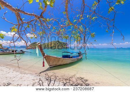 Long Tail Boats At Andaman Sea ,krabi, Thailand