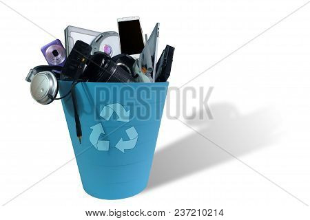 Electronic Waste Broken Or Damage In Dustbin Isolated On White Background, Reuse And Recycle Concept
