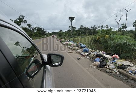Rubbish Along The Road In The Amazon, South America