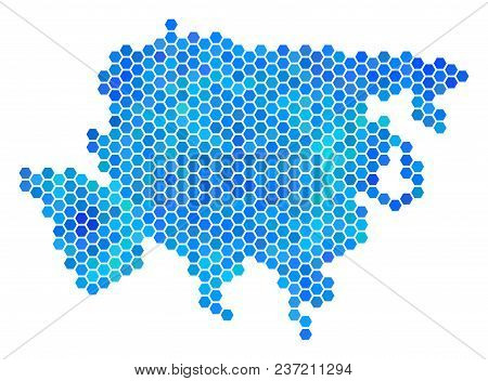 Blue Hexagon Asia Map. Vector Geographic Map In Cold Color Tints On A White Background. Blue Vector
