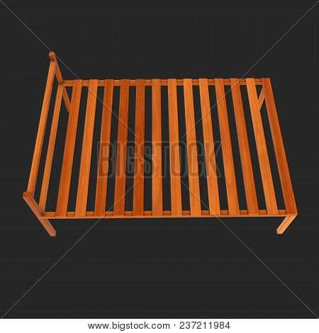 Base Orthopedic Wooden Bed 3d Render Illustration On Black Background