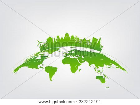 Sustainable Development And Green City Concept, World Environment, Vector Illustration