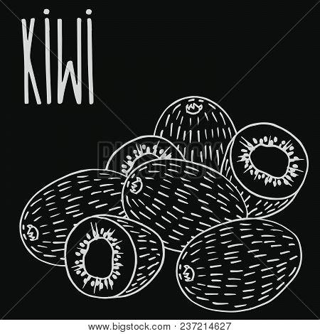 Isolate Ripe Kiwi Fruit As Chalk On Blackboard. Close Up Clipart In Chalkboard Style. Hand Drawn Ico