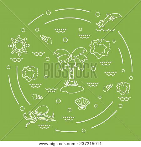Cute Vector Illustration With Different Objects Related To Tourism And Outdoor Recreation Arranged I