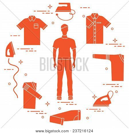 Silhouette Of A Man, Irons And Different Clothes. Design For Banner And Print.