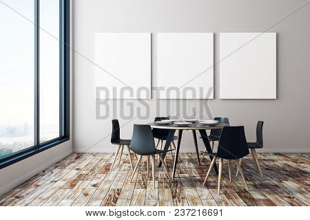 Modern Dining Room Interior With Empty Billboard, Furniture, Equipment And City View. Mock Up, 3d Re