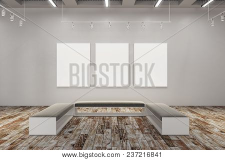 Clean Exhibition Hall With Empty Banner And Bench. Gallery, Art, Exhibit And Museum Concept. Mock Up