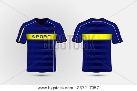 Blue, White And Yellow Layout Football Sport T-shirt, Kits, Jersey, Shirt  Design Template