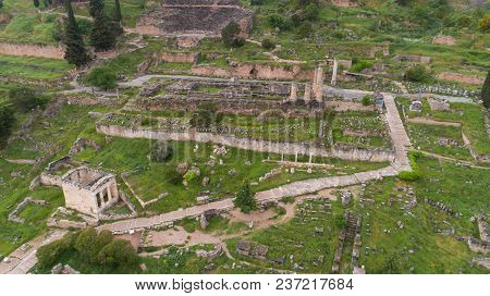 Aerial View Of Archaeological Site Of Ancient Delphi, Site Of Temple Of Apollo And The Oracle, Voiot