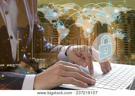 Businessman Hand Use Laptop With Padlock And Cloud Technology Background, Cyber Security Data Protec