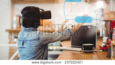 Digital composite of Digital composite image of woman using VR glasses