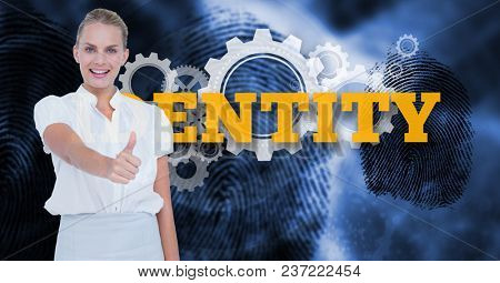 Digital composite of Businesswoman showing thumb up against text