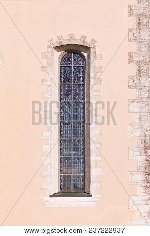Narrow Gothic Window Of The Church. Germany
