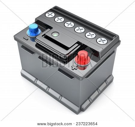 Battery Car On Isolated White Background. 3d Illustration
