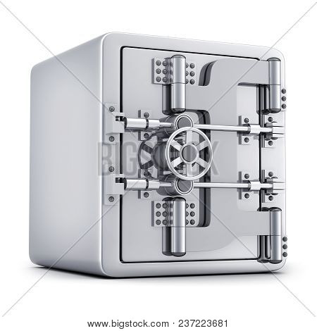 Big, Bank Safe, Closed. Isolated On White Background. 3d Illustration.