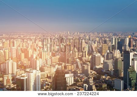 Skyline City Office Building Business Downtown, Bangkok Thailand Cityscape