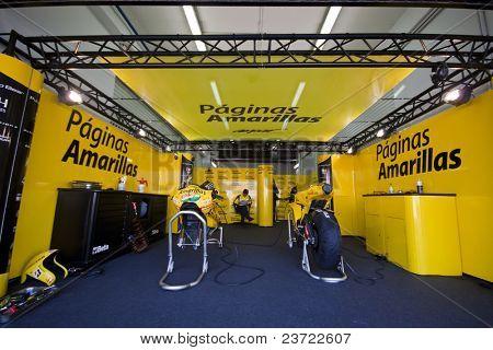 VALENCIA, SPAIN - NOVEMBER 5: Paginas Amarillas Team Box in MOTOGP Grand Prix of the Comunitat Valenciana, Ricardo Tormo Circuit of Cheste, Spain on NOVEMBER 5, 2010 in Valencia, Spain.