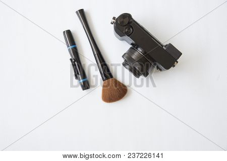 Equipment Of Cleaning Camera Flat Lay Style.