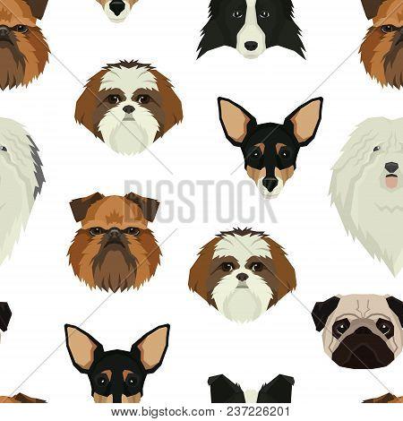 Dog Faces Seamless Pattern  Geometric Style Set