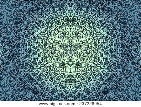 Background With Abstract Concentric Inky Pattern, Vintage Effect