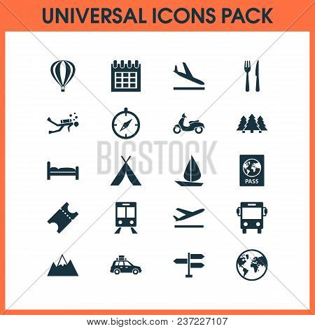 Journey Icons Set With Tent, Train, Aircraft And Other Scuba Elements. Isolated Vector Illustration