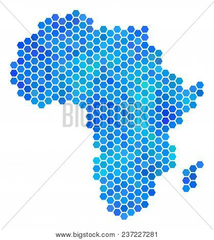 Hexagon Blue Africa Map. Vector Geographic Map In Blue Color Tones On A White Background. Blue Vecto